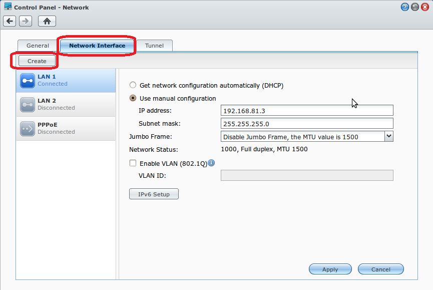 Synology DSM Network Interfaces