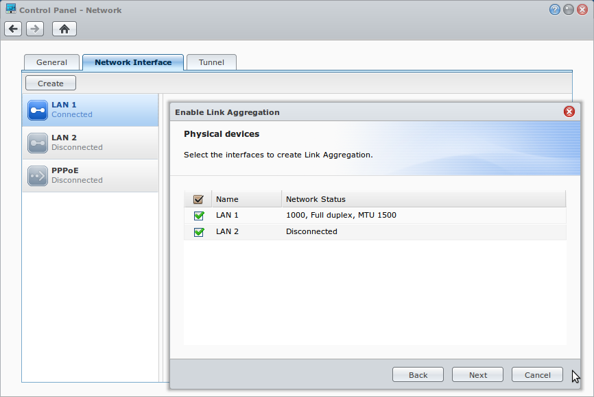 Synology DSM Select Link Aggregation Interfaces