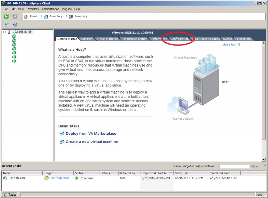 VMWare ESXi Configuration
