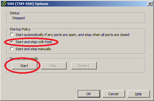 VMWare ESXi SSH Options