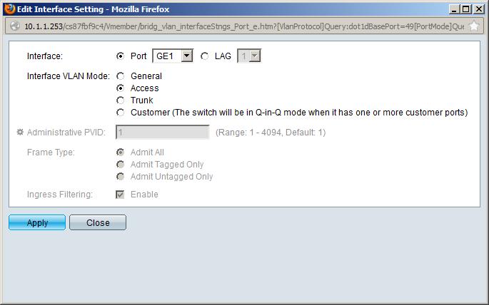 Cisco SMB Edit Interface Setting