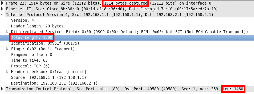 Wireshark IP TCP Ethernet Bytes Length