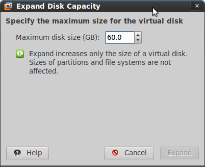 vmware workstation expand disk size
