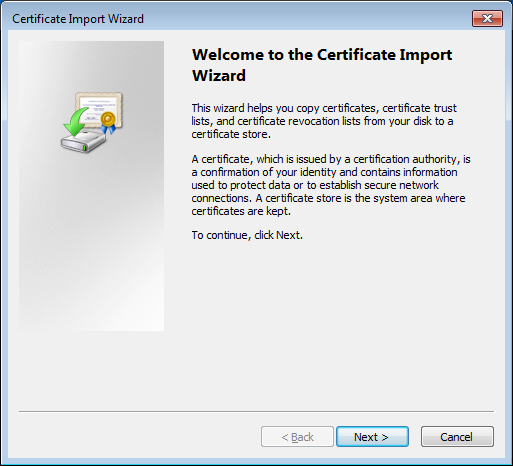 Cisco ASA certificate import wizard