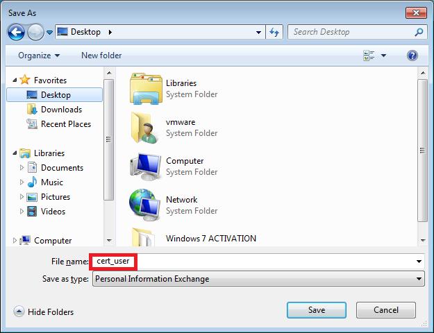 Cisco ASA Local CA user certificate save