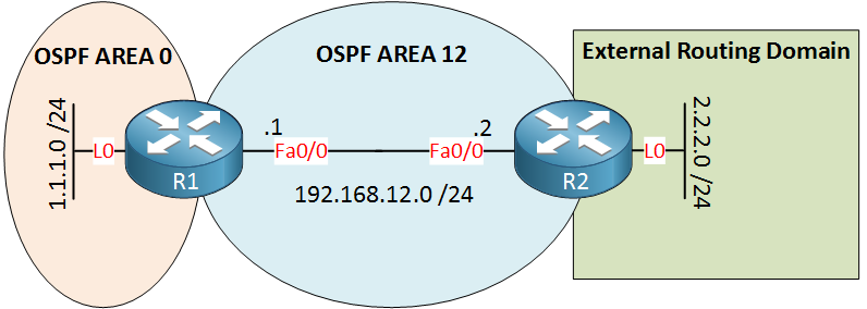 R1 R2 OSPF External Routing Domain