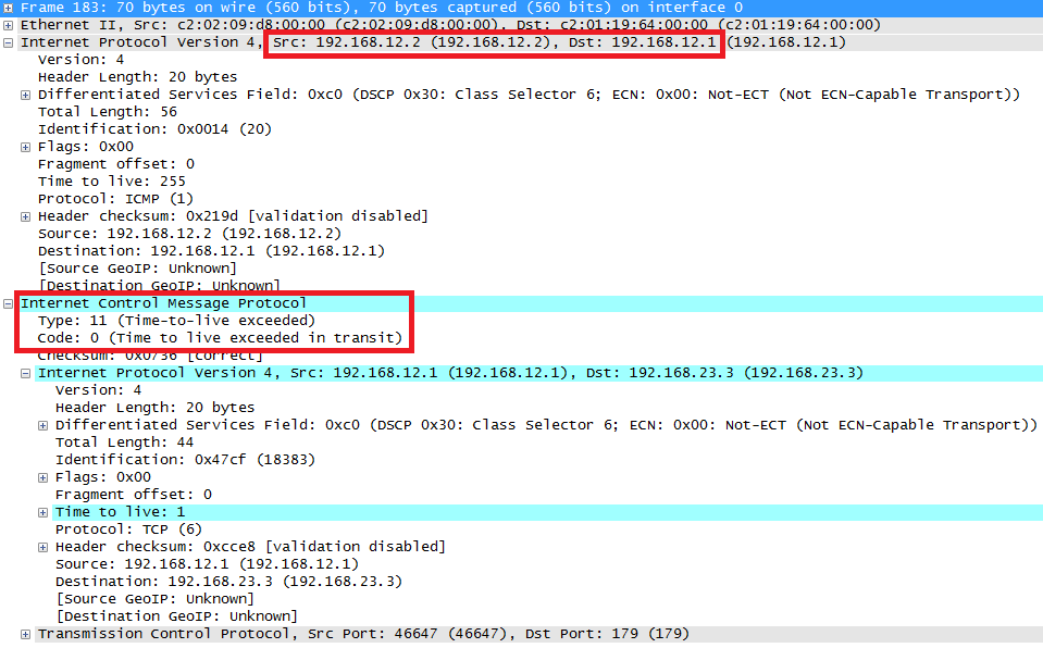 BGP TTL ICMP TTL Exceeded