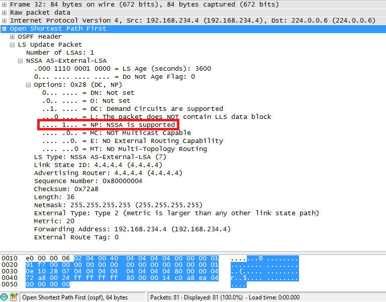 OSPF NSSA P-bit wireshark R4