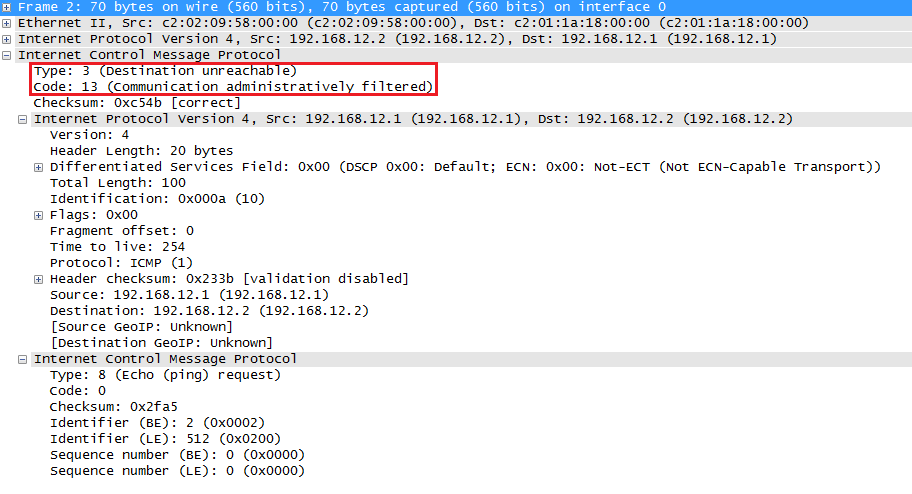 Wireshark Capture ICMP Administratively Filtered