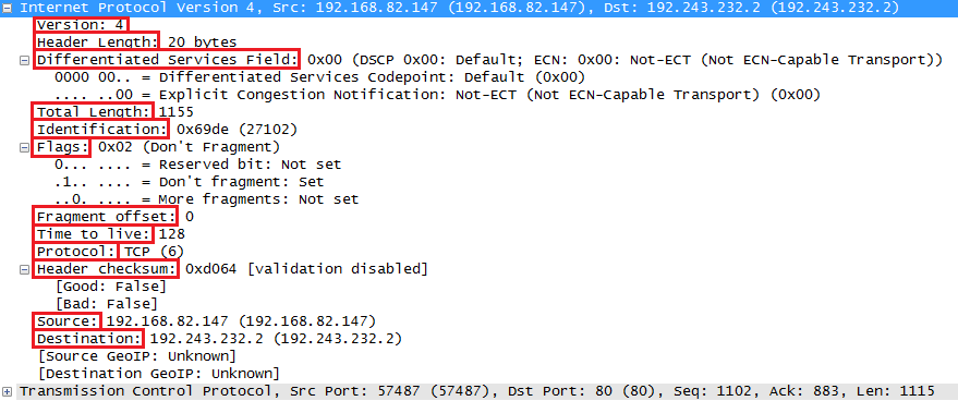 Wireshark Capture IP Header Fields