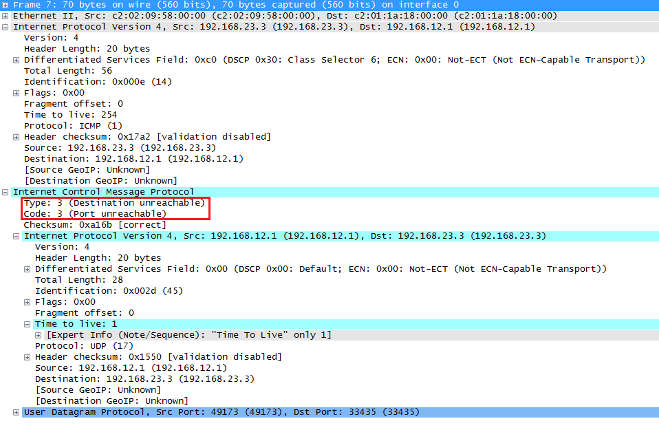 Wireshark Capture Traceroute ICMP Destination Unreachable