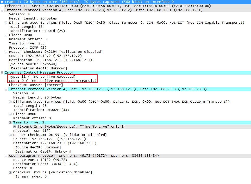 Wireshark Capture Traceroute ICMP TTL Exceeded