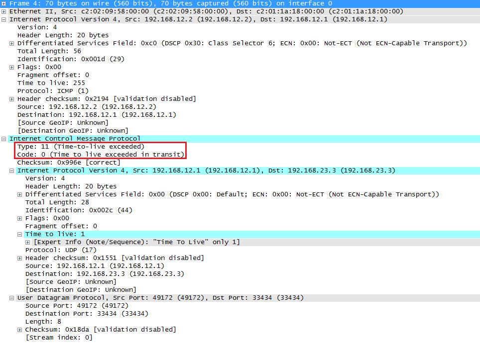 Wireshark Capture Traceroute ICMP TTL Exceeded