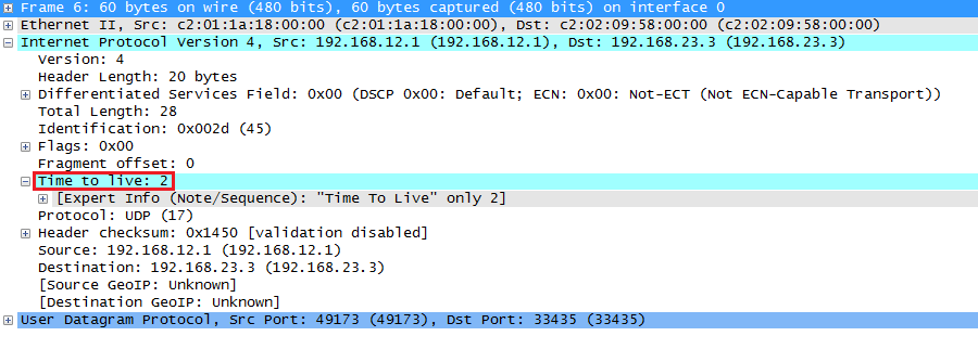 Wireshark capture traceroute UDP Probe TTL Two