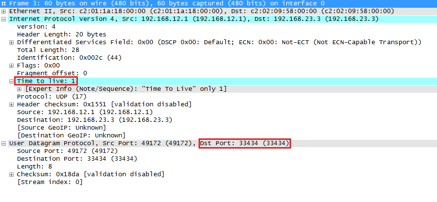 Wireshark Capture Traceroute UDP Probe