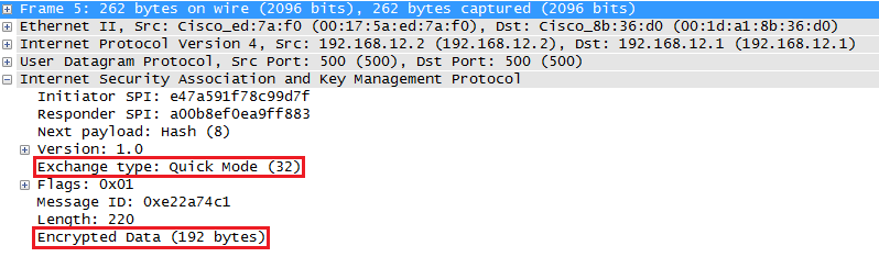 Wireshark Capture IKE Quick Mode Message 2