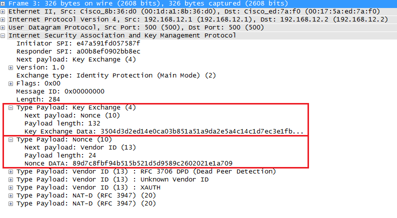 Wireshark Capture IKEv1 main mode message 3