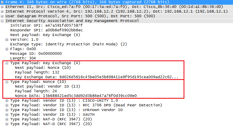 Wireshark Capture IKEv1 Main Mode Message 4