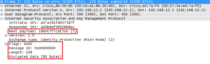 Wireshark Capture IKEv1 main mode message 5