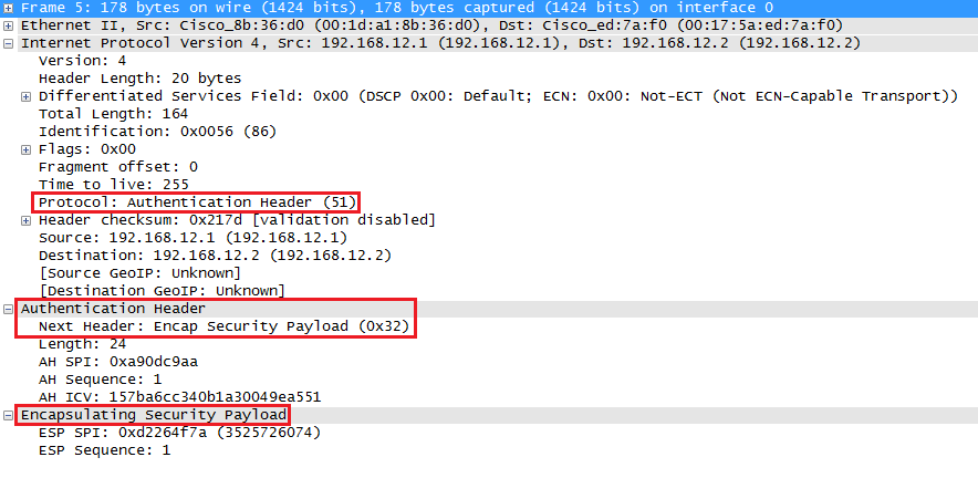 Wireshark Capture IPsec AH ESP Transport Mode