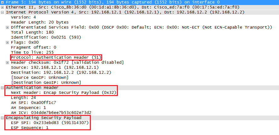 wireshark capture of ipsec ah and esp tunnel mode