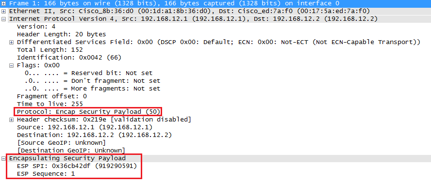 Wireshark Capture IPsec ESP Transport Mode