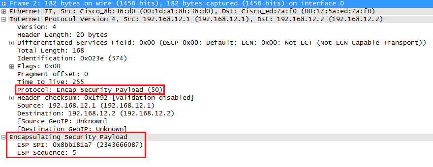 wireshark capture ipsec esp tunnel mode