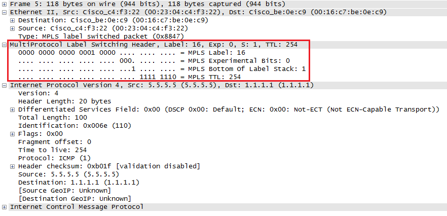 wireshark capture mpls header