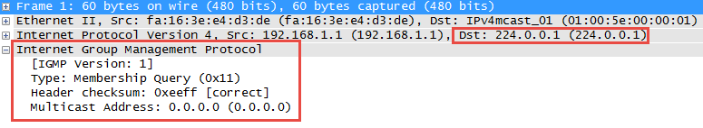 Wireshark Capture Multicast IGMP Version 1 Membership Query
