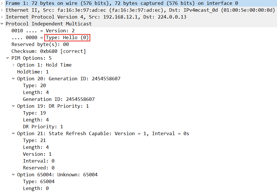 Multicast PIM Sparse Mode hello packet