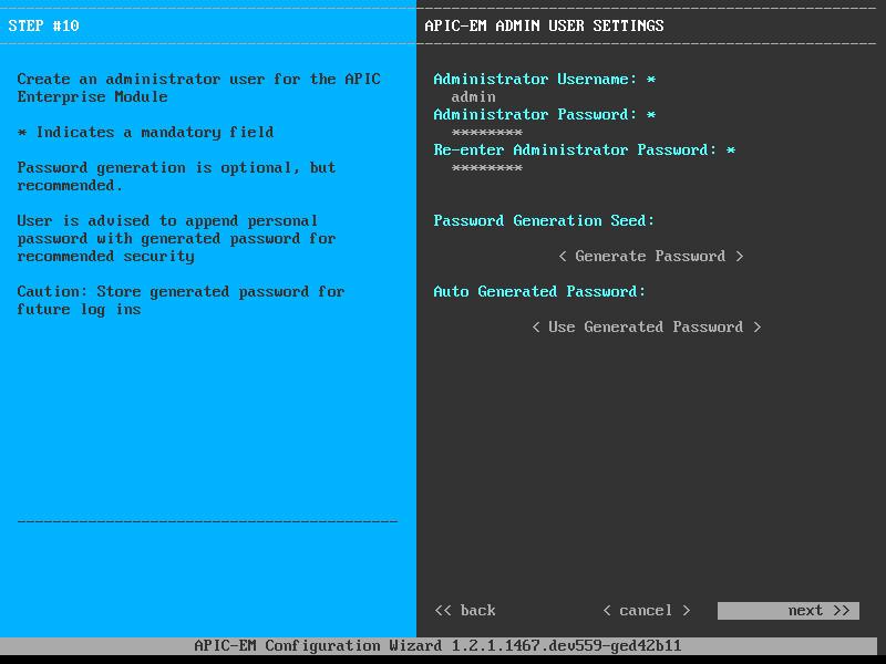 apic em admin user settings
