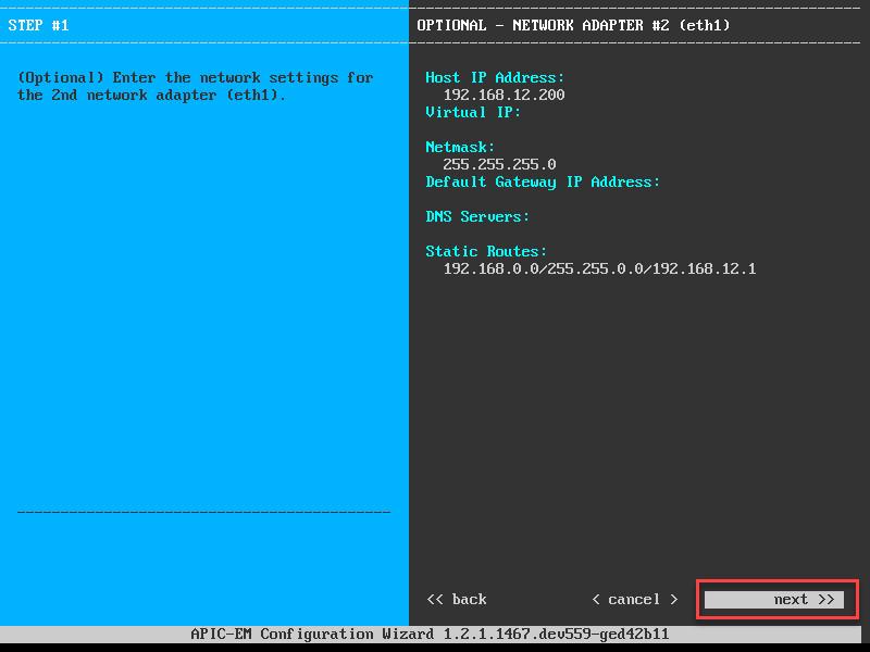 apic em network adapter eth1