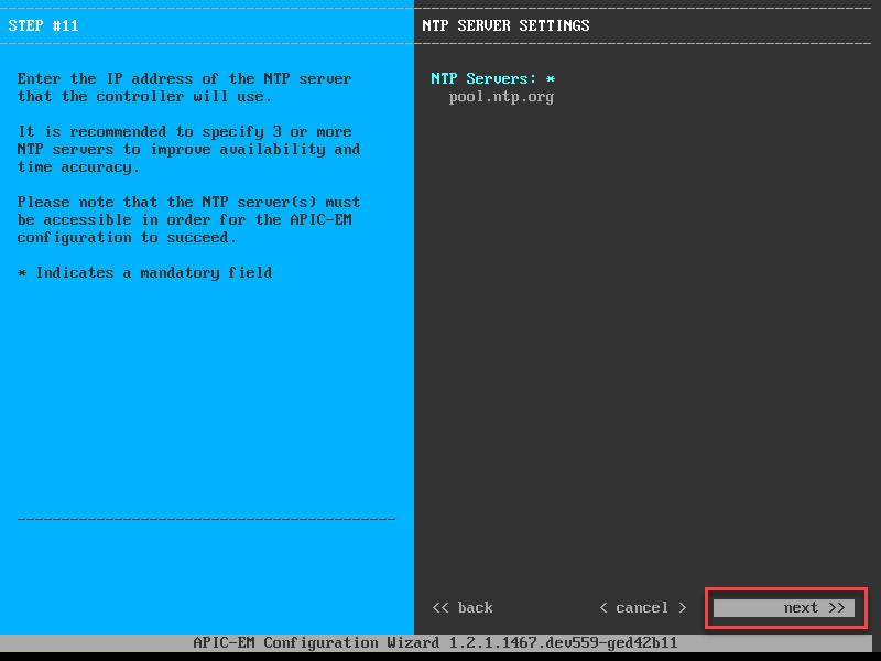 apic em ntp server settings