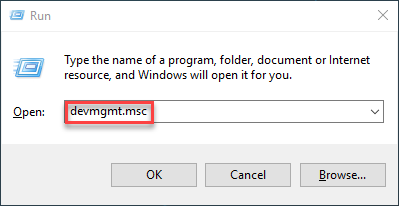 windows start run devmgmt