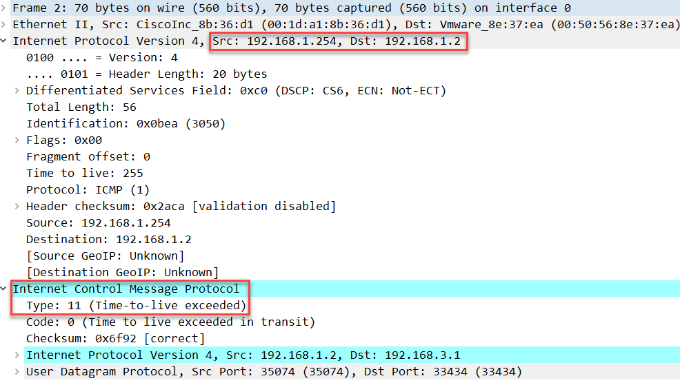 linux traceroute icmp ttl expired first