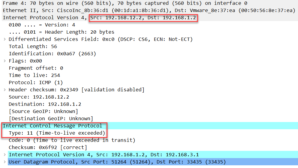 linux traceroute udp ttl 2 icmp expired