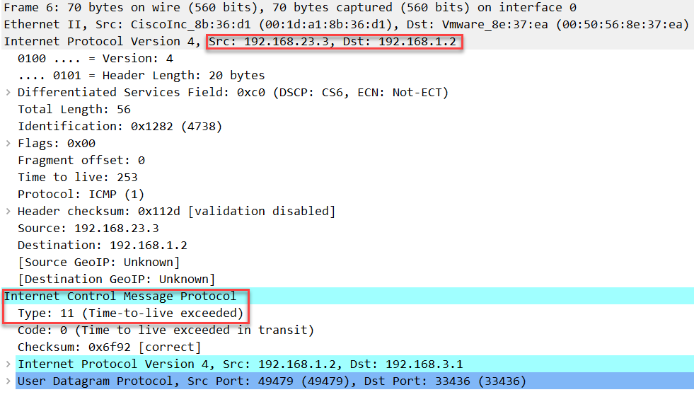 linux traceroute udp ttl 3 icmp expired