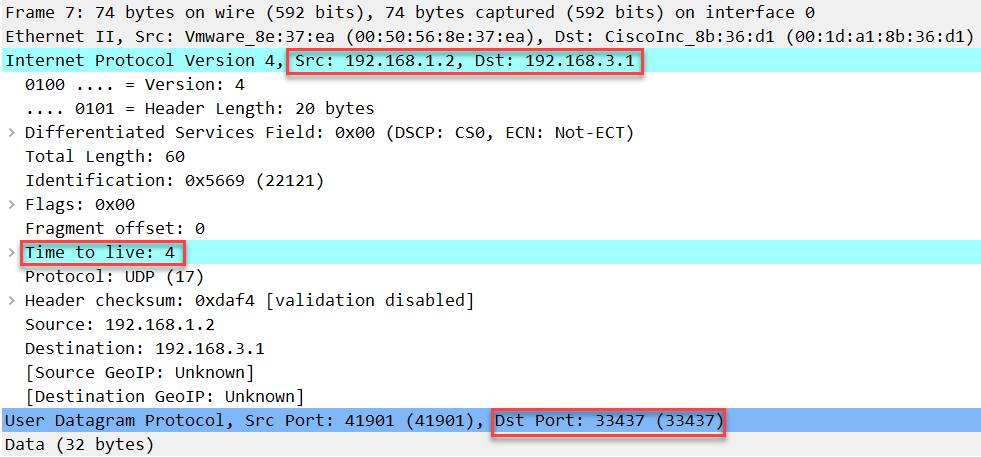 linux traceroute udp ttl 4