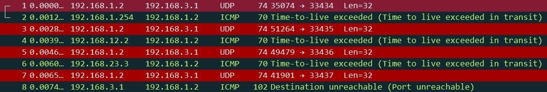 Linux traceroute wireshark capture