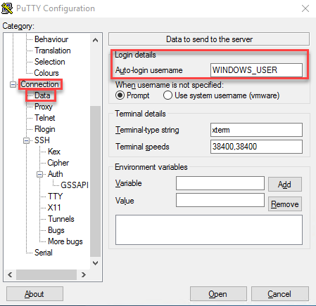 putty connection data username