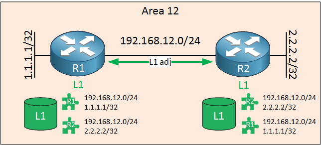 is-is routers area 12 level 1 adjacency
