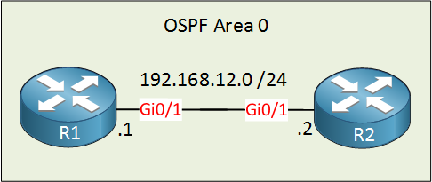 ospf r1 r2 gigabit interface