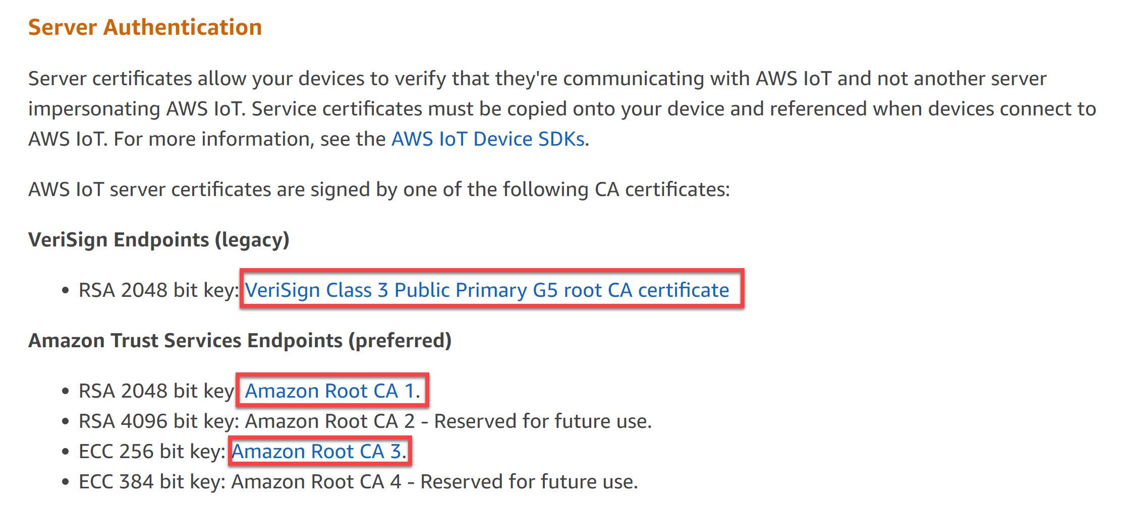 Aws Iot Root Certificates