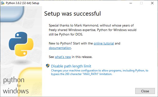Python Setup Success