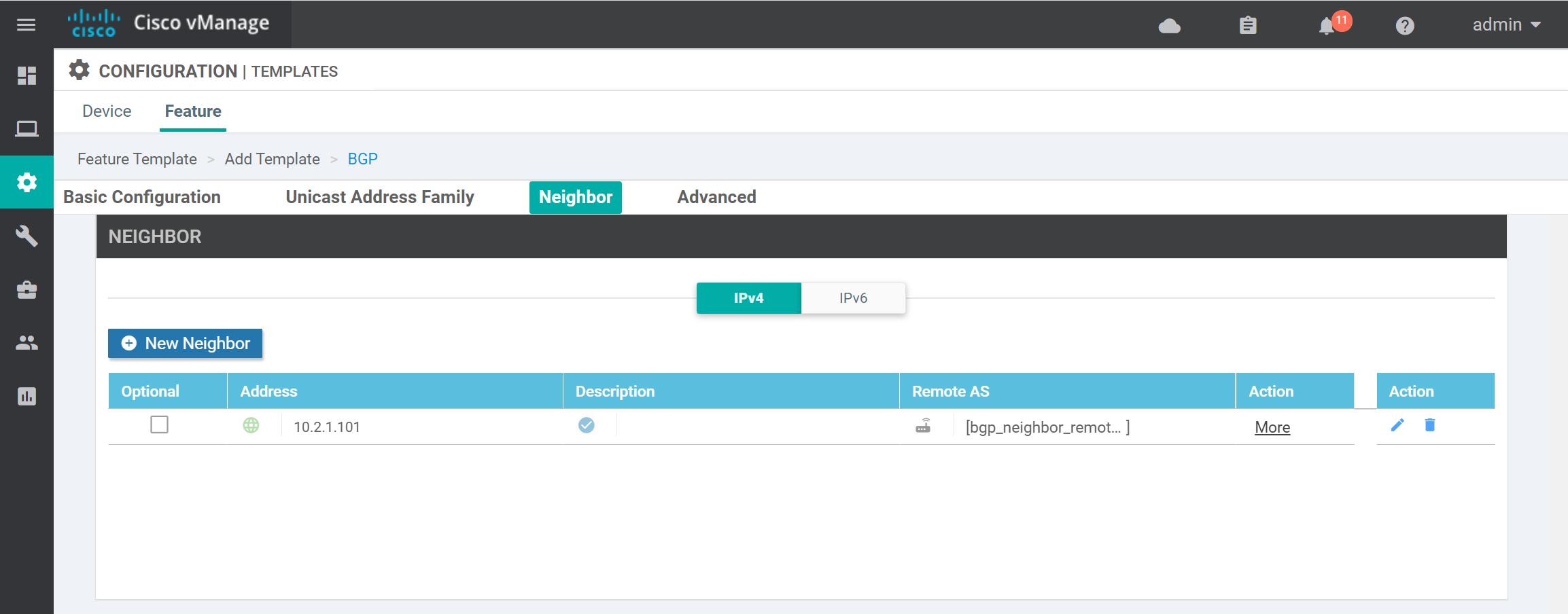 Cisco Sd Wan Feature Template Bgp Neighbor Overview