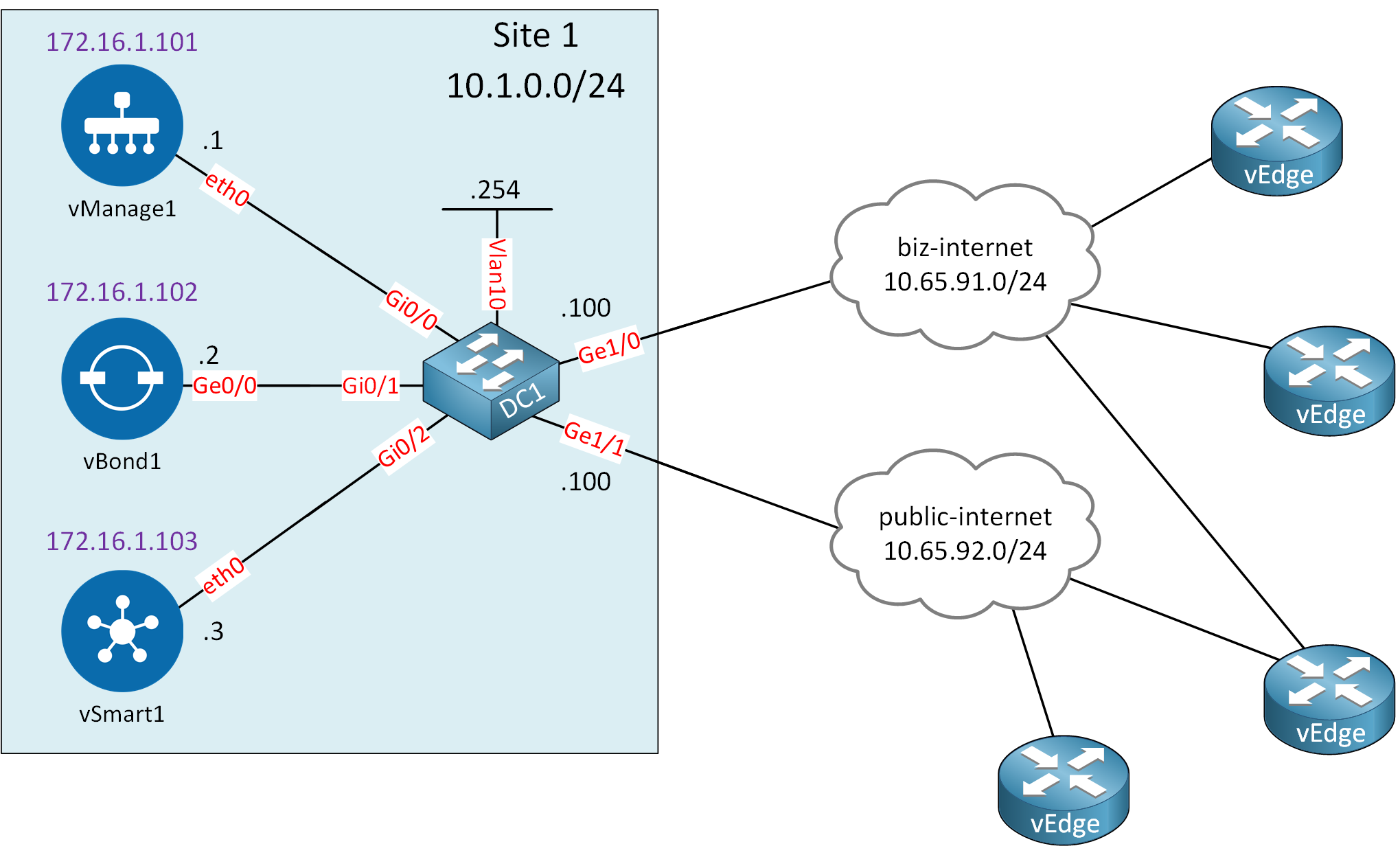 Cisco Sd Wan Viptela Controllers Lab Topology Site1