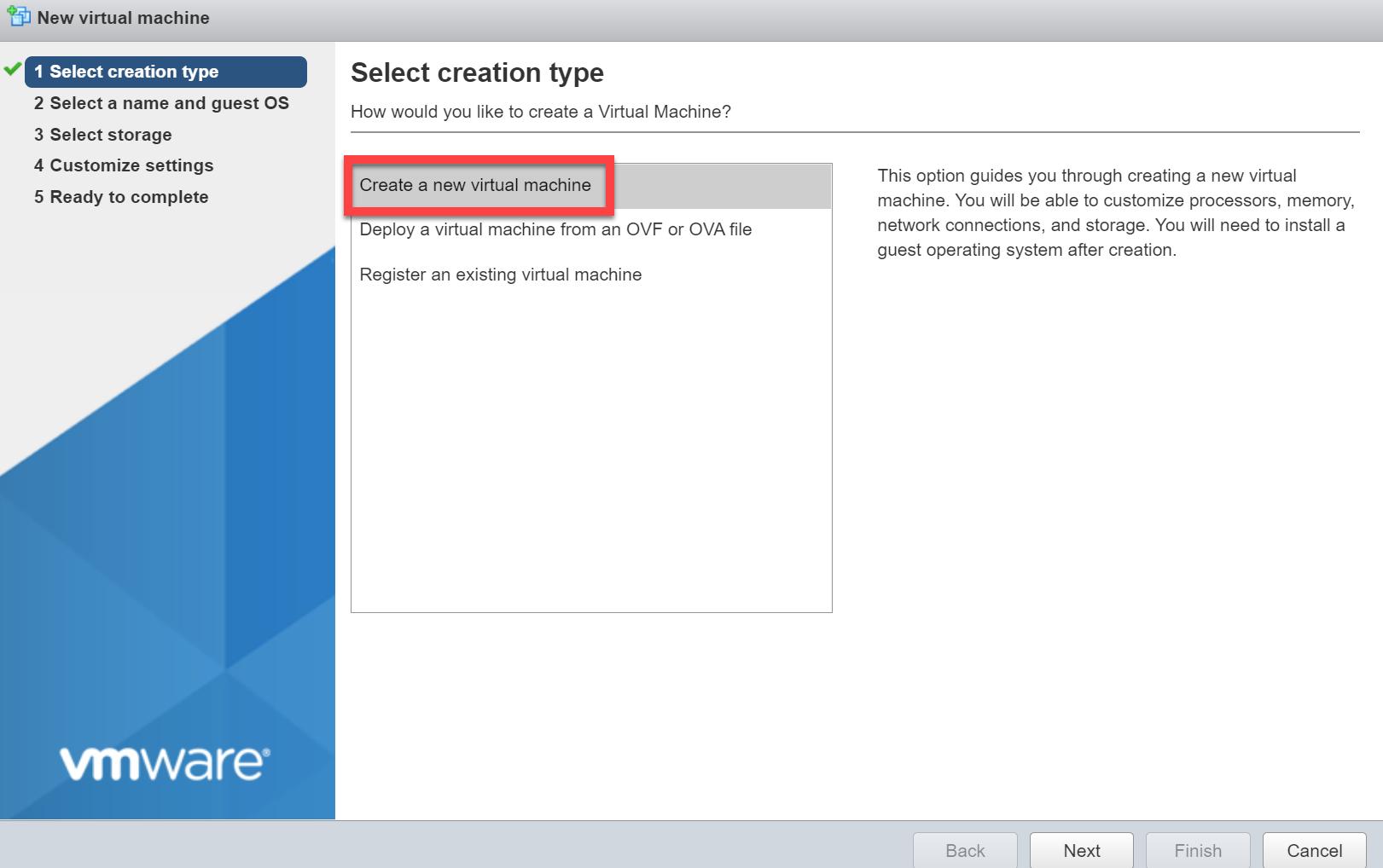 Vmware Esxi Create New Vm Creation Type